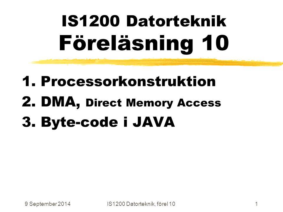 9 September 2014IS1200 Datorteknik, förel 1072 Block Data Transfer I/O to Memory # Initiera inför DMA-styrd BDT # DmaSrc, -Dst, -Nr och -Ctl är memory-mapped register i DMA storeiDmaSrc, SrcAddrVal storeiDmaDst, DstAddrVal storeiDmaNr, NrOfTransfers storeiDmaCtl, DirandSize