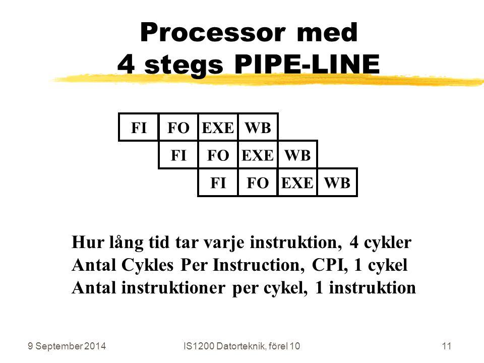 9 September 2014IS1200 Datorteknik, förel 1011 Processor med 4 stegs PIPE-LINE Hur lång tid tar varje instruktion, 4 cykler Antal Cykles Per Instruction, CPI, 1 cykel Antal instruktioner per cykel, 1 instruktion FIFOEXEWBFIFOEXEWBFIFOEXEWB