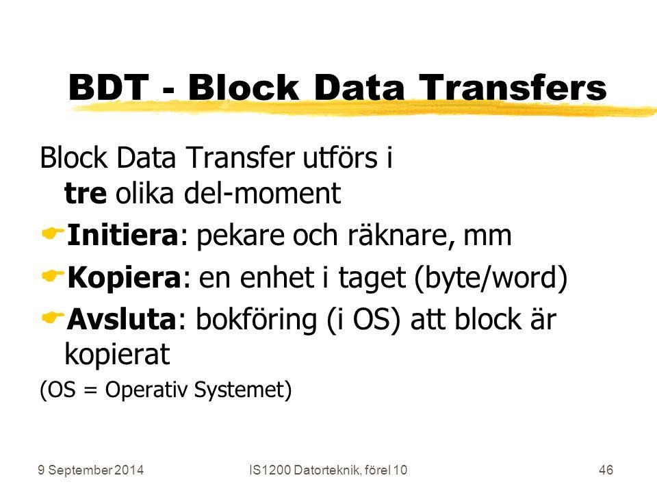 9 September 2014IS1200 Datorteknik, förel 1046 BDT - Block Data Transfers Block Data Transfer utförs i tre olika del-moment  Initiera: pekare och räknare, mm  Kopiera: en enhet i taget (byte/word)  Avsluta: bokföring (i OS) att block är kopierat (OS = Operativ Systemet)