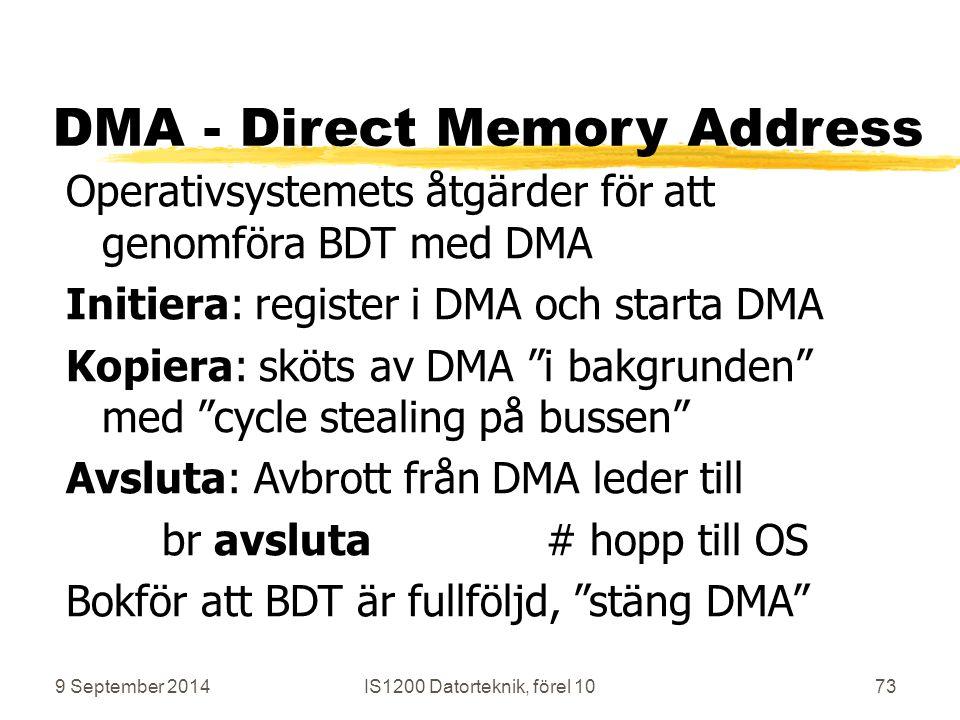 9 September 2014IS1200 Datorteknik, förel 1073 DMA - Direct Memory Address Operativsystemets åtgärder för att genomföra BDT med DMA Initiera: register i DMA och starta DMA Kopiera: sköts av DMA i bakgrunden med cycle stealing på bussen Avsluta: Avbrott från DMA leder till br avsluta# hopp till OS Bokför att BDT är fullföljd, stäng DMA