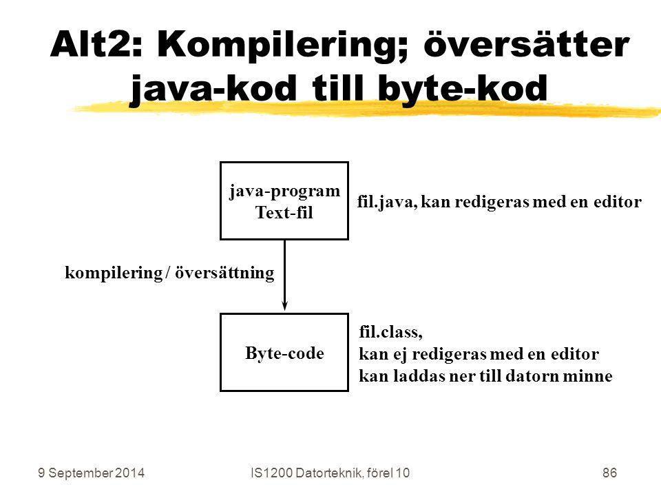 9 September 2014IS1200 Datorteknik, förel 1086 Alt2: Kompilering; översätter java-kod till byte-kod java-program Text-fil Byte-code kompilering / översättning fil.java, kan redigeras med en editor fil.class, kan ej redigeras med en editor kan laddas ner till datorn minne