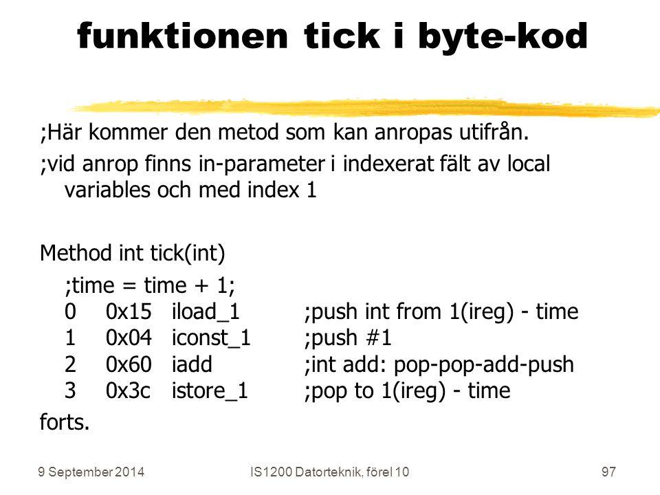 9 September 2014IS1200 Datorteknik, förel 1097 funktionen tick i byte-kod ;Här kommer den metod som kan anropas utifrån.