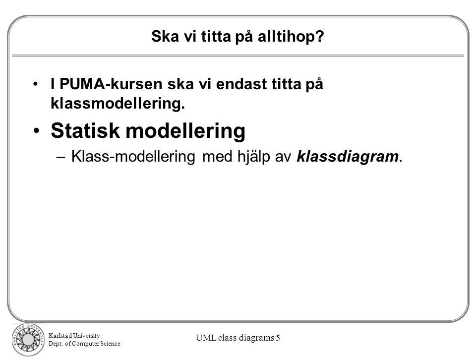 Karlstad University Dept.of Computer Science UML class diagrams 5 Ska vi titta på alltihop.