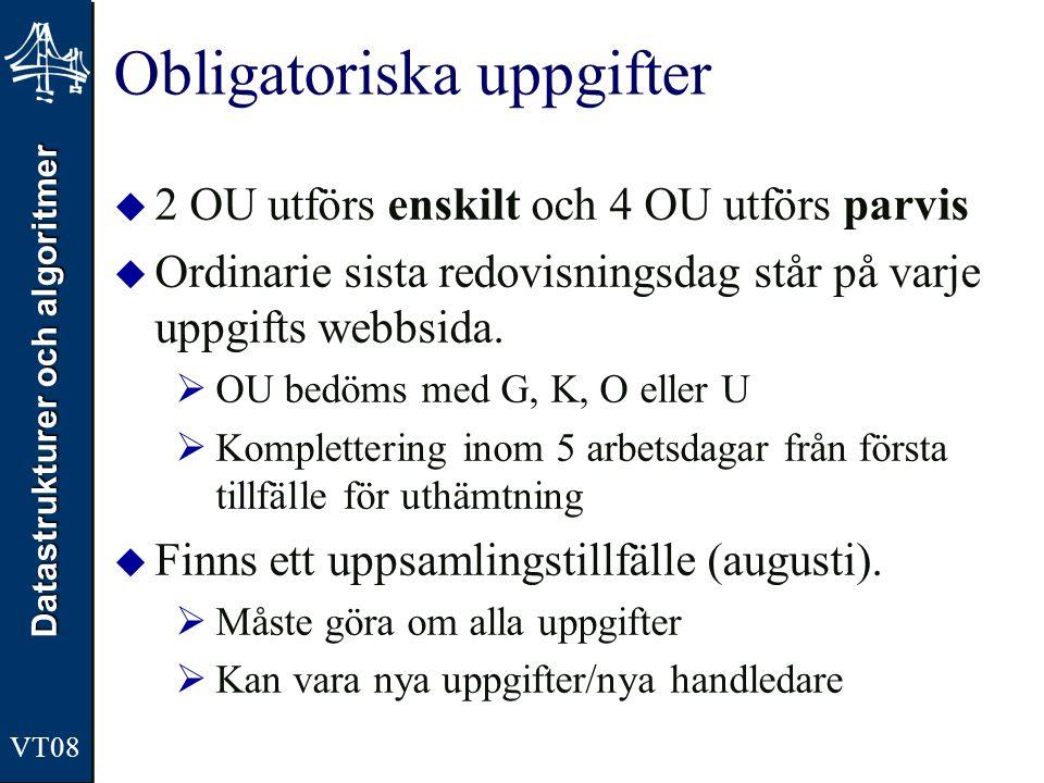 Datastrukturer och algoritmer VT08 Obligatoriska uppgifter  2 OU utförs enskilt och 4 OU utförs parvis  Ordinarie sista redovisningsdag står på varj