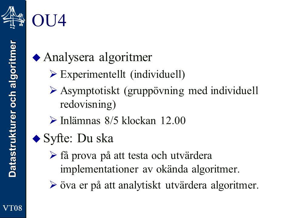 Datastrukturer och algoritmer VT08 OU4  Analysera algoritmer  Experimentellt (individuell)  Asymptotiskt (gruppövning med individuell redovisning)