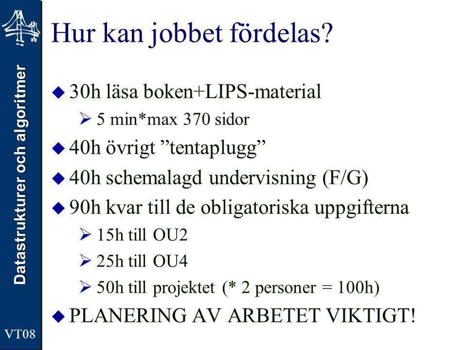 """Datastrukturer och algoritmer VT08 Hur kan jobbet fördelas?  30h läsa boken+LIPS-material  5 min*max 370 sidor  40h övrigt """"tentaplugg""""  40h schem"""