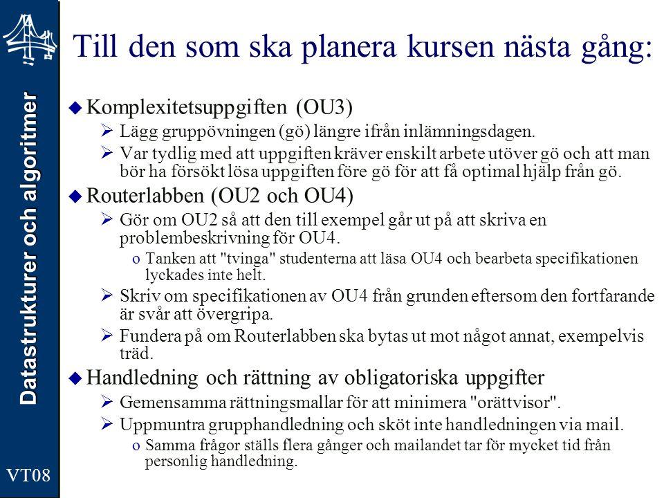 Datastrukturer och algoritmer VT08 Till den som ska planera kursen nästa gång:  Komplexitetsuppgiften (OU3)  Lägg gruppövningen (gö) längre ifrån in