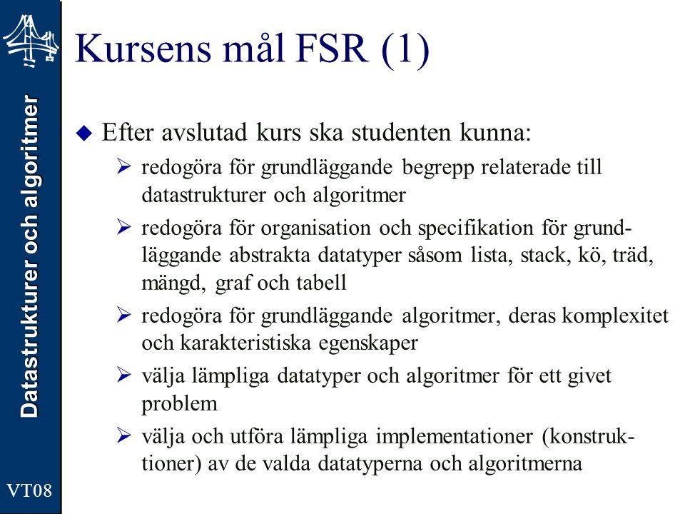 Datastrukturer och algoritmer VT08 Kursens mål FSR (1)  Efter avslutad kurs ska studenten kunna:  redogöra för grundläggande begrepp relaterade till