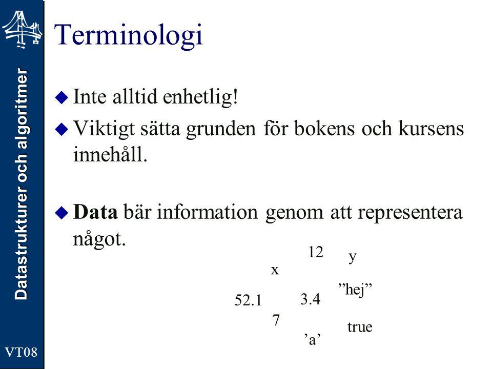 Datastrukturer och algoritmer VT08 Terminologi  Inte alltid enhetlig!  Viktigt sätta grunden för bokens och kursens innehåll.  Data bär information