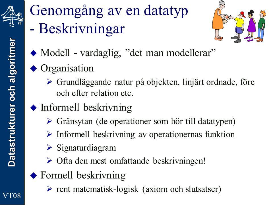 """Datastrukturer och algoritmer VT08 Genomgång av en datatyp - Beskrivningar  Modell - vardaglig, """"det man modellerar""""  Organisation  Grundläggande n"""
