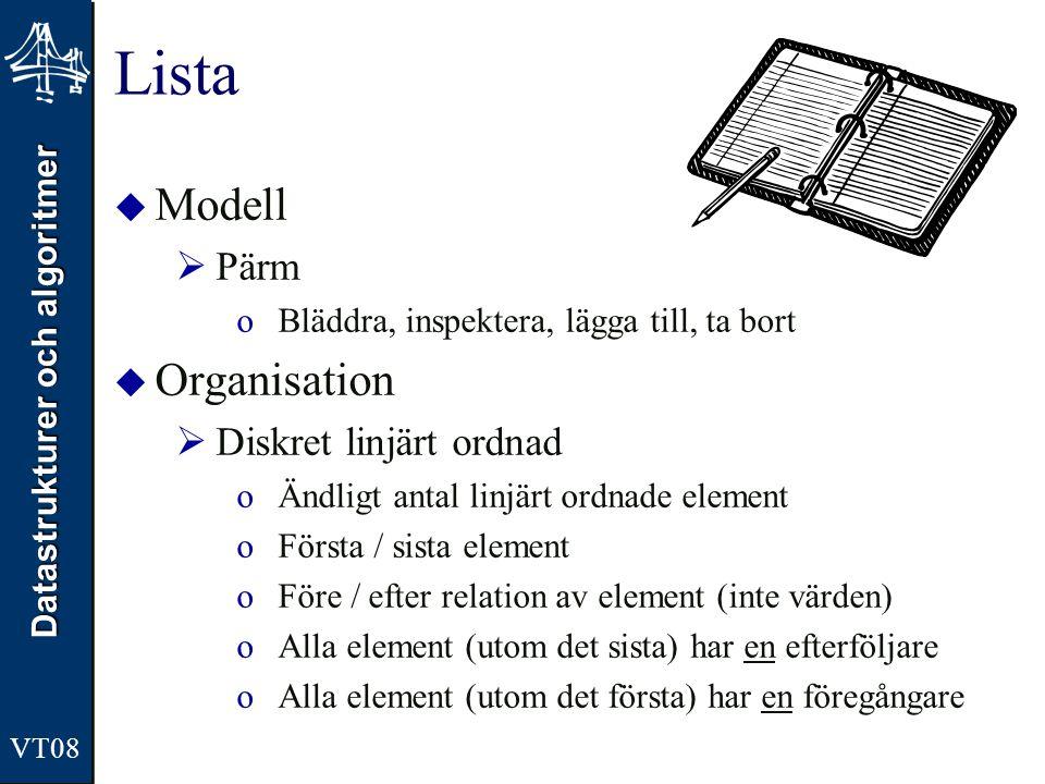 Datastrukturer och algoritmer VT08 Lista  Modell  Pärm oBläddra, inspektera, lägga till, ta bort  Organisation  Diskret linjärt ordnad oÄndligt an