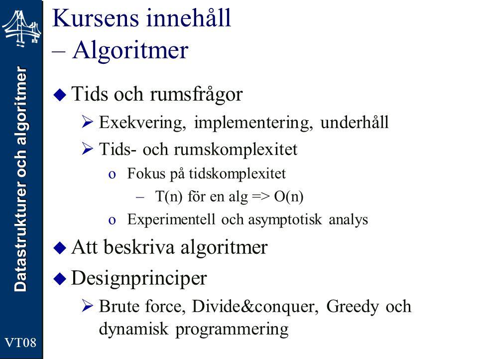 Datastrukturer och algoritmer VT08 Genomgång av en datatyp  Konstruktioner och implementationer  Olika sätt att konkretisera datatypen o Lista som en array vs Lista som en dynamisk struktur  Komplexitetsanalys  Exemplen i boken i huvudsak Java eller ML  Tillämpningar och algoritmer  Typproblem och algoritmer som löser dem  Komplexitetsanalys