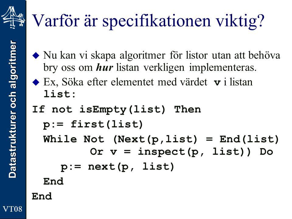 Datastrukturer och algoritmer VT08 Varför är specifikationen viktig?  Nu kan vi skapa algoritmer för listor utan att behöva bry oss om hur listan ver