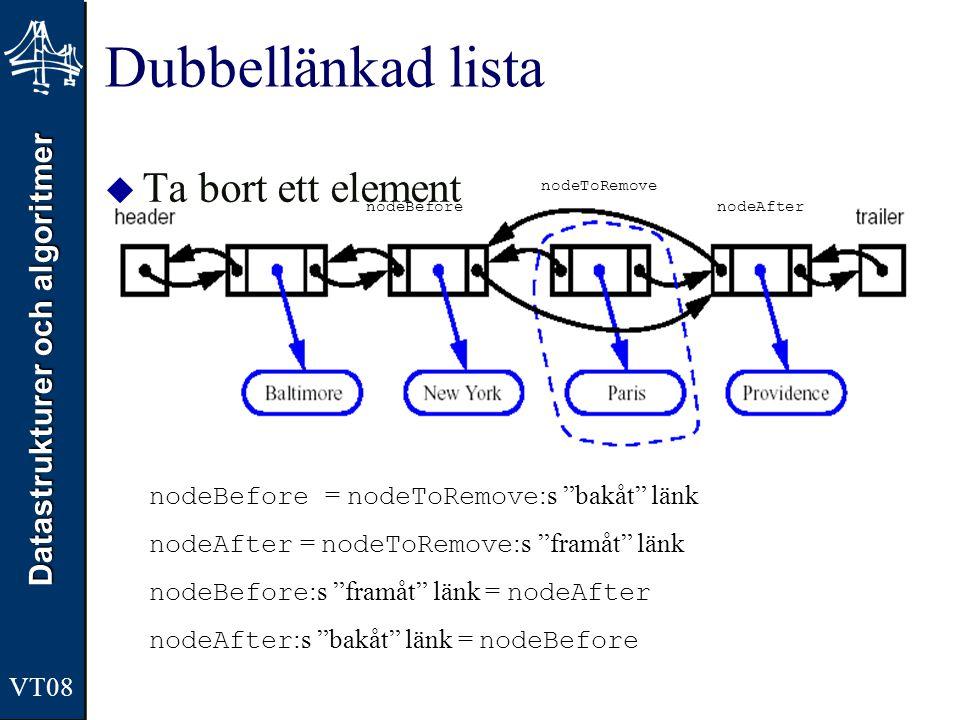 """Datastrukturer och algoritmer VT08 Dubbellänkad lista  Ta bort ett element nodeBefore = nodeToRemove :s """"bakåt"""" länk nodeAfter = nodeToRemove :s """"fra"""