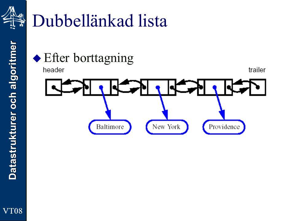 Datastrukturer och algoritmer VT08 Dubbellänkad lista  Efter borttagning