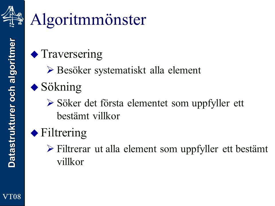 Datastrukturer och algoritmer VT08 Algoritmmönster  Traversering  Besöker systematiskt alla element  Sökning  Söker det första elementet som uppfy