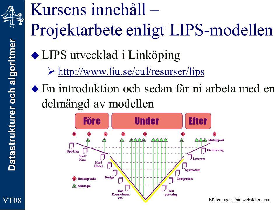 Datastrukturer och algoritmer VT08 Kursens upplägg  Föreläsningar (16 st)  Teoripresentation och lite praktiska inslag  Gruppövningar (4 st)  3 grupper, SI-stil  OBS.