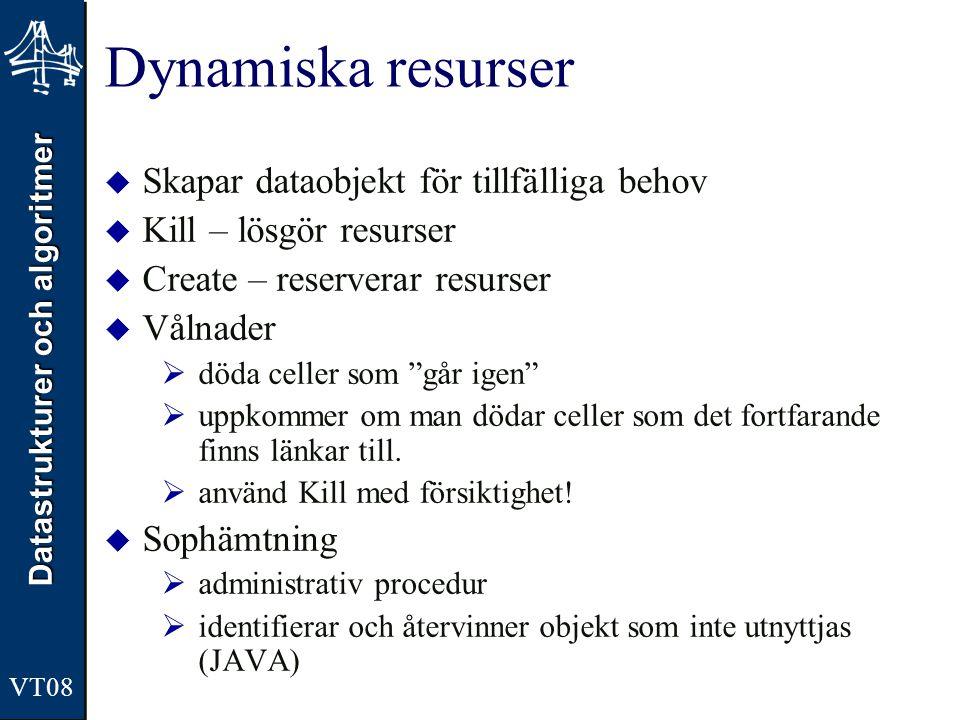 Datastrukturer och algoritmer VT08 Dynamiska resurser  Skapar dataobjekt för tillfälliga behov  Kill – lösgör resurser  Create – reserverar resurse