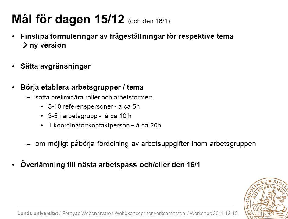 Lunds universitet / Förnyad Webbnärvaro / Webbkoncept för verksamheten / Workshop 2011-12-15 Mål för dagen 15/12 (och den 16/1) Finslipa formuleringar av frågeställningar för respektive tema  ny version Sätta avgränsningar Börja etablera arbetsgrupper / tema –sätta preliminära roller och arbetsformer: 3-10 referenspersoner - á ca 5h 3-5 i arbetsgrupp - á ca 10 h 1 koordinator/kontaktperson – á ca 20h –om möjligt påbörja fördelning av arbetsuppgifter inom arbetsgruppen Överlämning till nästa arbetspass och/eller den 16/1