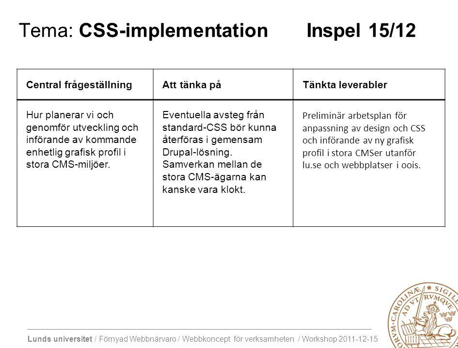 Lunds universitet / Förnyad Webbnärvaro / Webbkoncept för verksamheten / Workshop 2011-12-15 Tema: CSS-implementation Inspel 15/12 Central frågeställningAtt tänka påTänkta leverabler Hur planerar vi och genomför utveckling och införande av kommande enhetlig grafisk profil i stora CMS-miljöer.