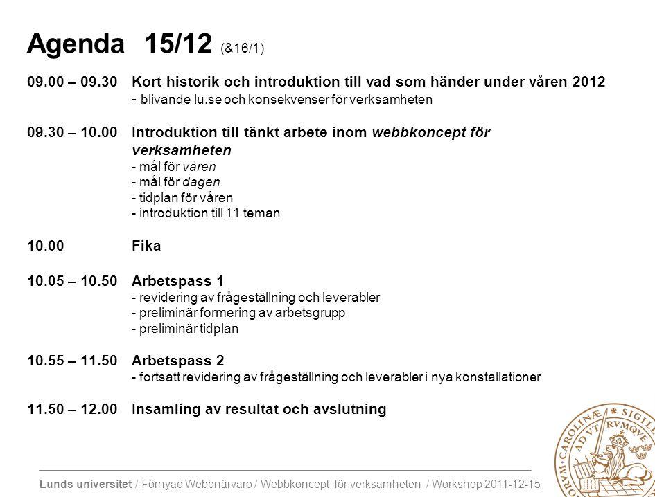 Lunds universitet / Förnyad Webbnärvaro / Webbkoncept för verksamheten / Workshop 2011-12-15 Agenda 15/12 (&16/1) 09.00 – 09.30Kort historik och introduktion till vad som händer under våren 2012 - blivande lu.se och konsekvenser för verksamheten 09.30 – 10.00Introduktion till tänkt arbete inom webbkoncept för verksamheten - mål för våren - mål för dagen - tidplan för våren - introduktion till 11 teman 10.00 Fika 10.05 – 10.50Arbetspass 1 - revidering av frågeställning och leverabler - preliminär formering av arbetsgrupp - preliminär tidplan 10.55 – 11.50Arbetspass 2 - fortsatt revidering av frågeställning och leverabler i nya konstallationer 11.50 – 12.00Insamling av resultat och avslutning M K ?