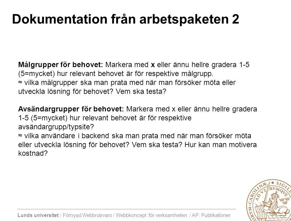 Lunds universitet / Förnyad Webbnärvaro / Webbkoncept för verksamheten / AP: Publikationer Dokumentation från arbetspaketen 2 Målgrupper för behovet: Markera med x eller ännu hellre gradera 1-5 (5=mycket) hur relevant behovet är för respektive målgrupp.