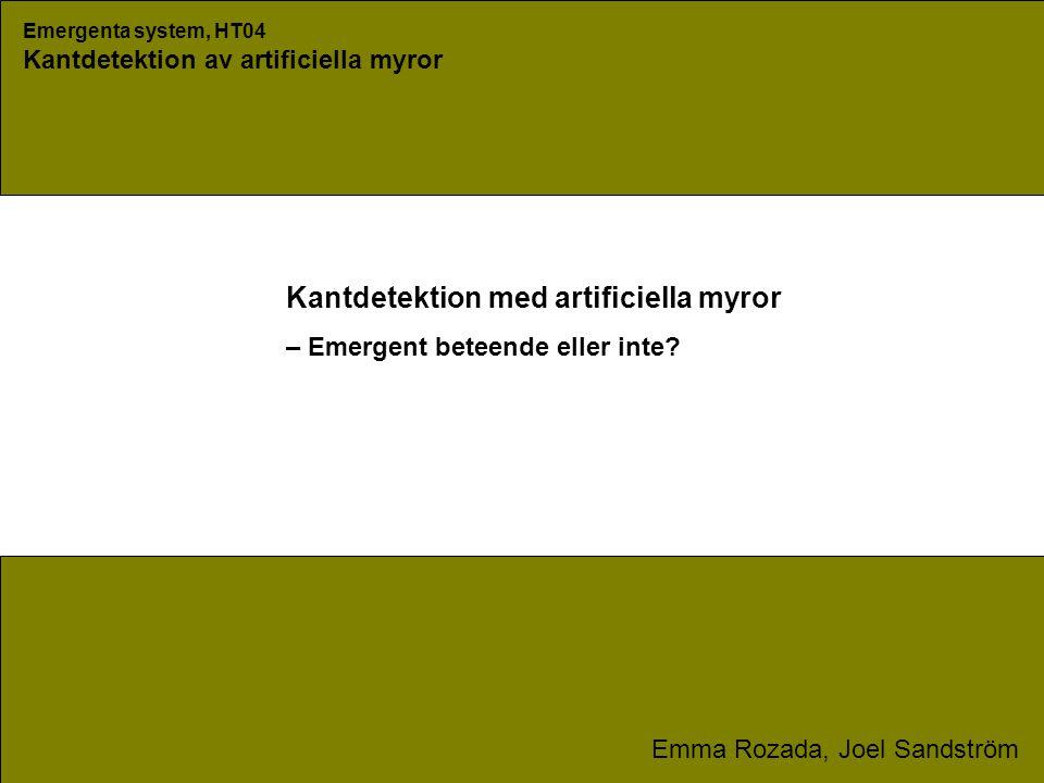 Emergenta system, HT04 Kantdetektion av artificiella myror Emma Rozada, Joel Sandström Kantdetektion med artificiella myror – Emergent beteende eller inte