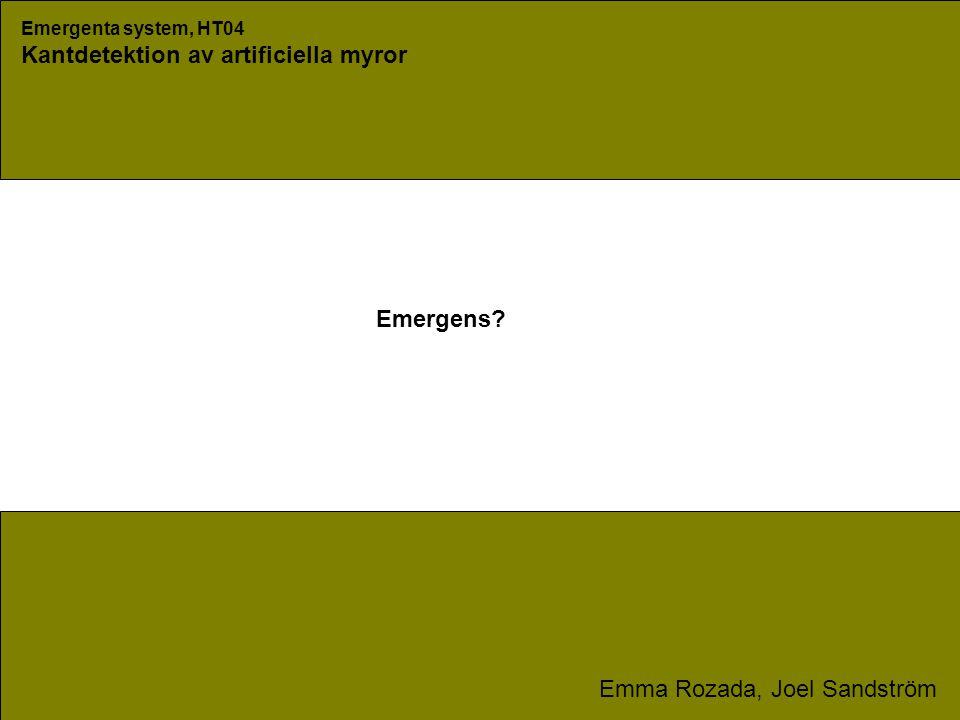 Emergenta system, HT04 Kantdetektion av artificiella myror Emma Rozada, Joel Sandström Emergens?