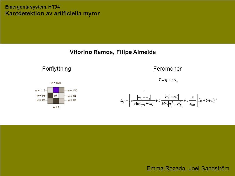 Emergenta system, HT04 Kantdetektion av artificiella myror Emma Rozada, Joel Sandström Förflyttning Feromoner Vitorino Ramos, Filipe Almeida