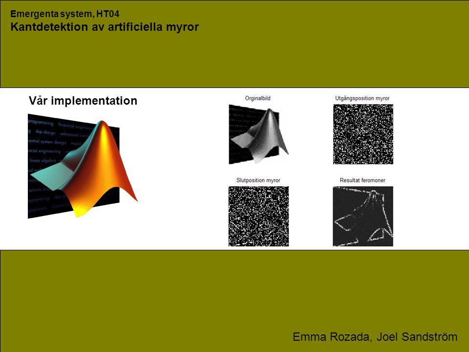 Emergenta system, HT04 Kantdetektion av artificiella myror Emma Rozada, Joel Sandström Vår implementation