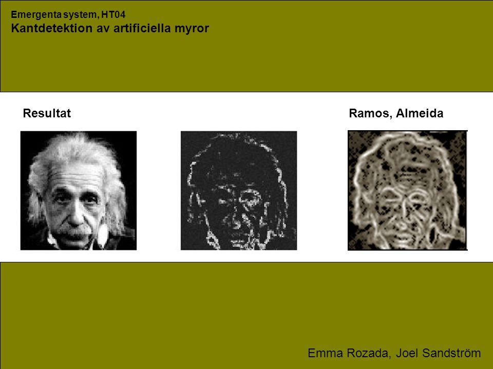 Emergenta system, HT04 Kantdetektion av artificiella myror Emma Rozada, Joel Sandström ResultatRamos, Almeida