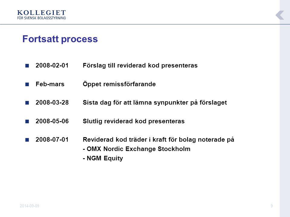2014-09-099 ■ 2008-02-01Förslag till reviderad kod presenteras ■ Feb-mars Öppet remissförfarande ■ 2008-03-28 Sista dag för att lämna synpunkter på fö