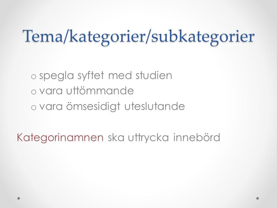 Tema/kategorier/subkategorier o spegla syftet med studien o vara uttömmande o vara ömsesidigt uteslutande Kategorinamnen ska uttrycka innebörd