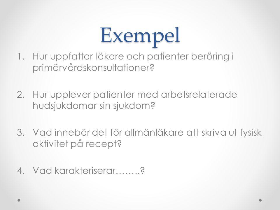 Exempel 1.Hur uppfattar läkare och patienter beröring i primärvårdskonsultationer.