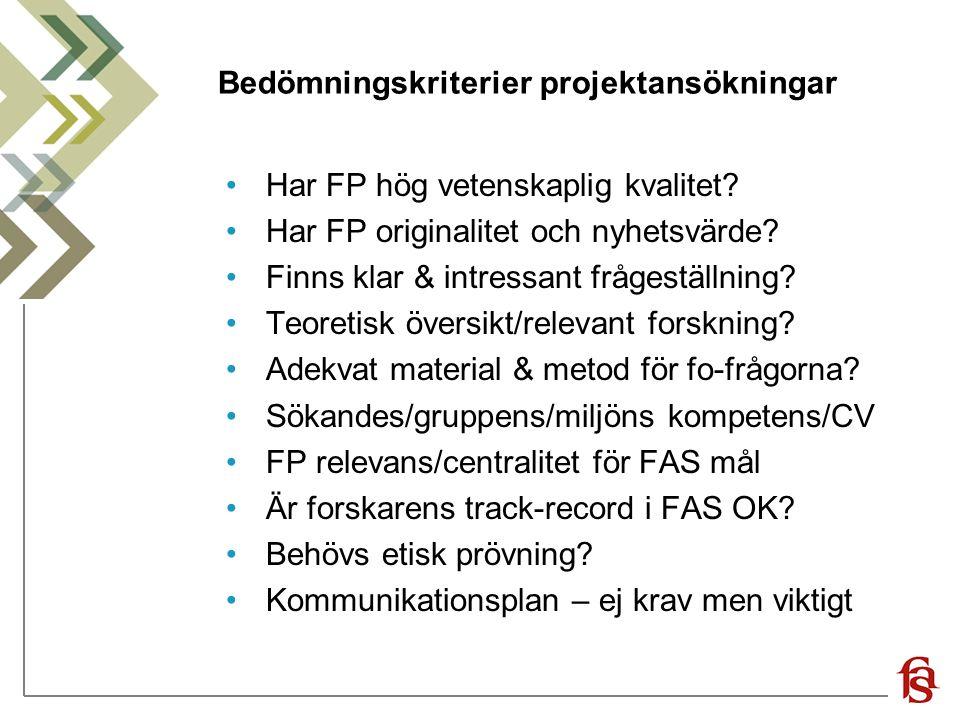 Bedömningskriterier projektansökningar Har FP hög vetenskaplig kvalitet? Har FP originalitet och nyhetsvärde? Finns klar & intressant frågeställning?