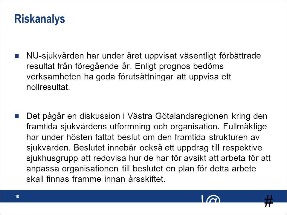 # !@ 10 Riskanalys n NU-sjukvården har under året uppvisat väsentligt förbättrade resultat från föregående år. Enligt prognos bedöms verksamheten ha g