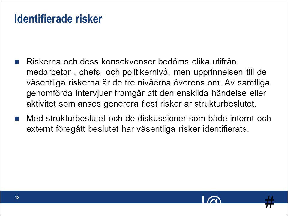 # !@ 12 Identifierade risker n Riskerna och dess konsekvenser bedöms olika utifrån medarbetar-, chefs- och politikernivå, men upprinnelsen till de väs