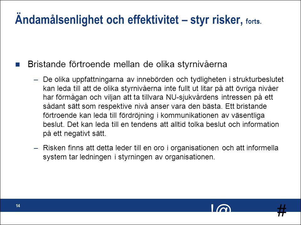 # !@ 14 Ändamålsenlighet och effektivitet – styr risker, forts. n Bristande förtroende mellan de olika styrnivåerna –De olika uppfattningarna av inneb
