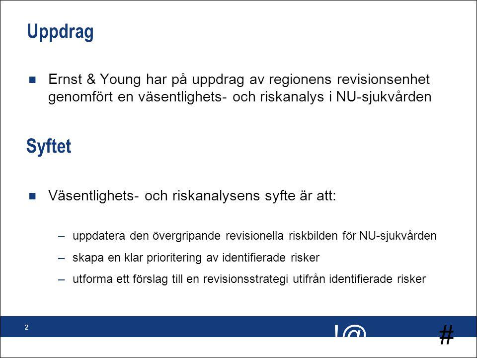 # !@ 2 Uppdrag n Ernst & Young har på uppdrag av regionens revisionsenhet genomfört en väsentlighets- och riskanalys i NU-sjukvården Syftet n Väsentli