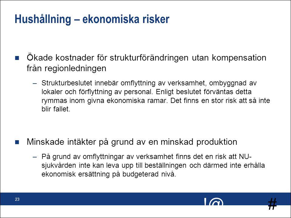 # !@ 23 Hushållning – ekonomiska risker n Ökade kostnader för strukturförändringen utan kompensation från regionledningen –Strukturbeslutet innebär om