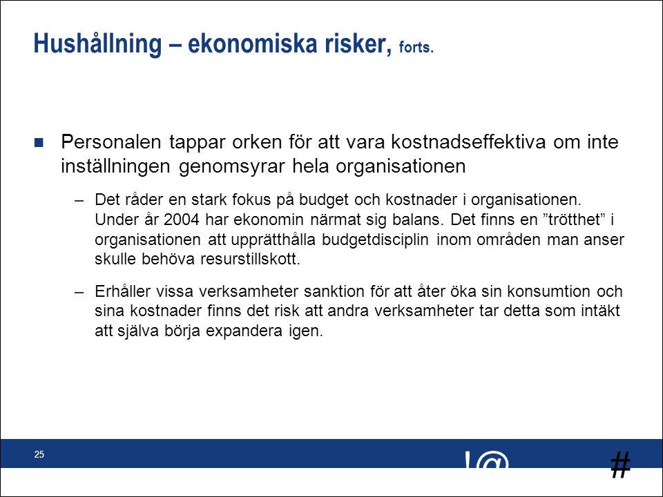 # !@ 25 Hushållning – ekonomiska risker, forts. n Personalen tappar orken för att vara kostnadseffektiva om inte inställningen genomsyrar hela organis