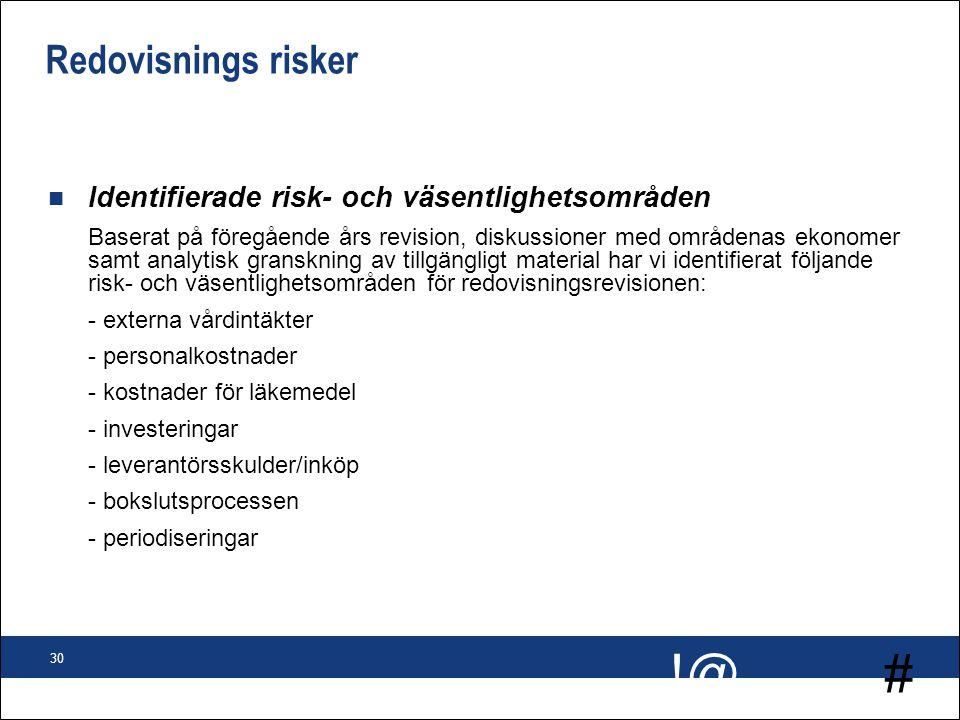 # !@ 30 Redovisnings risker n Identifierade risk- och väsentlighetsområden Baserat på föregående års revision, diskussioner med områdenas ekonomer sam
