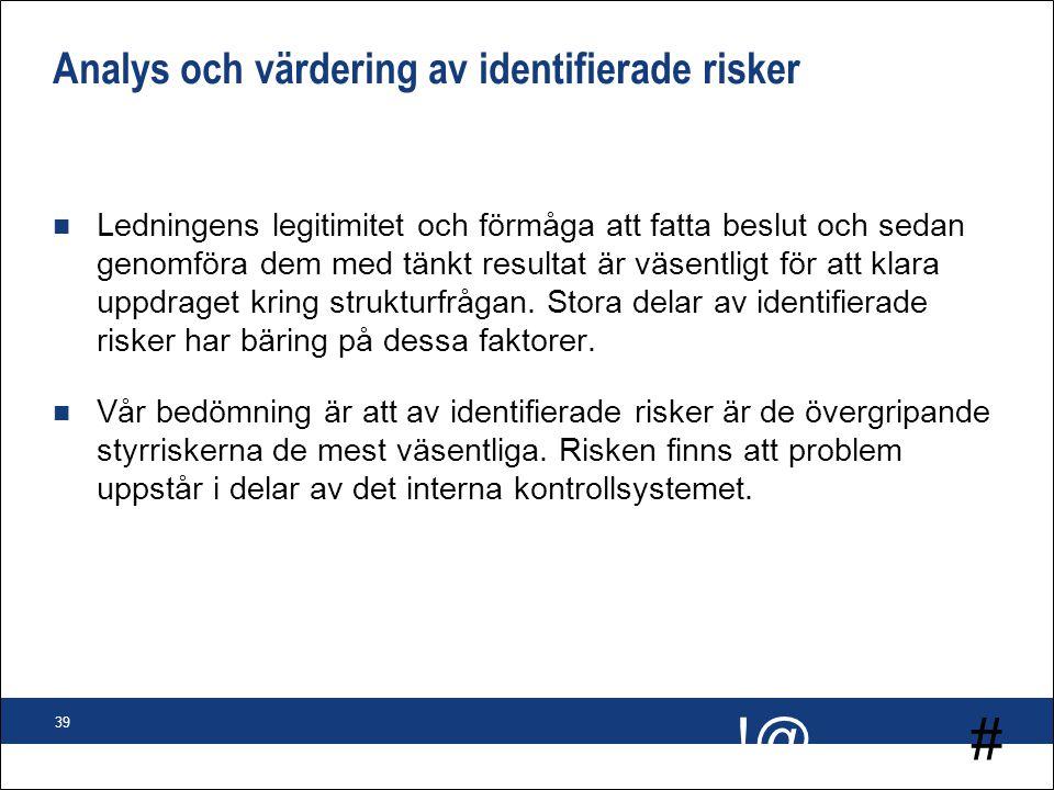 # !@ 39 Analys och värdering av identifierade risker n Ledningens legitimitet och förmåga att fatta beslut och sedan genomföra dem med tänkt resultat