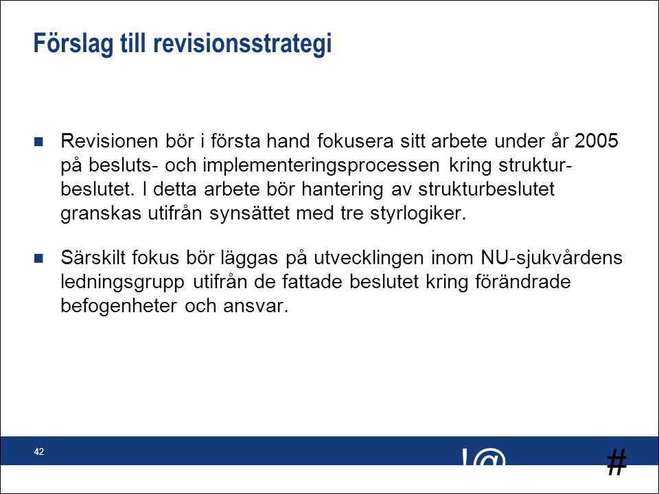 # !@ 42 Förslag till revisionsstrategi n Revisionen bör i första hand fokusera sitt arbete under år 2005 på besluts- och implementeringsprocessen krin