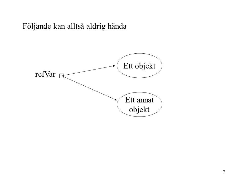 6 Referenser Alla variabler som används för att komma åt ett objekt är referenser. En referensvariabel innehåller inga värde däremot adressen till någ