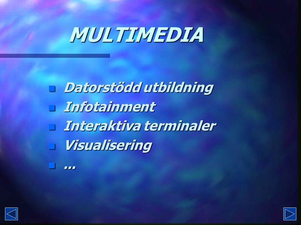 MULTIMEDIA n Dn Dn Dn Datorstödd utbildning n In In In Infotainment n In In In Interaktiva terminaler n Vn Vn Vn Visualisering n.n.n.n...