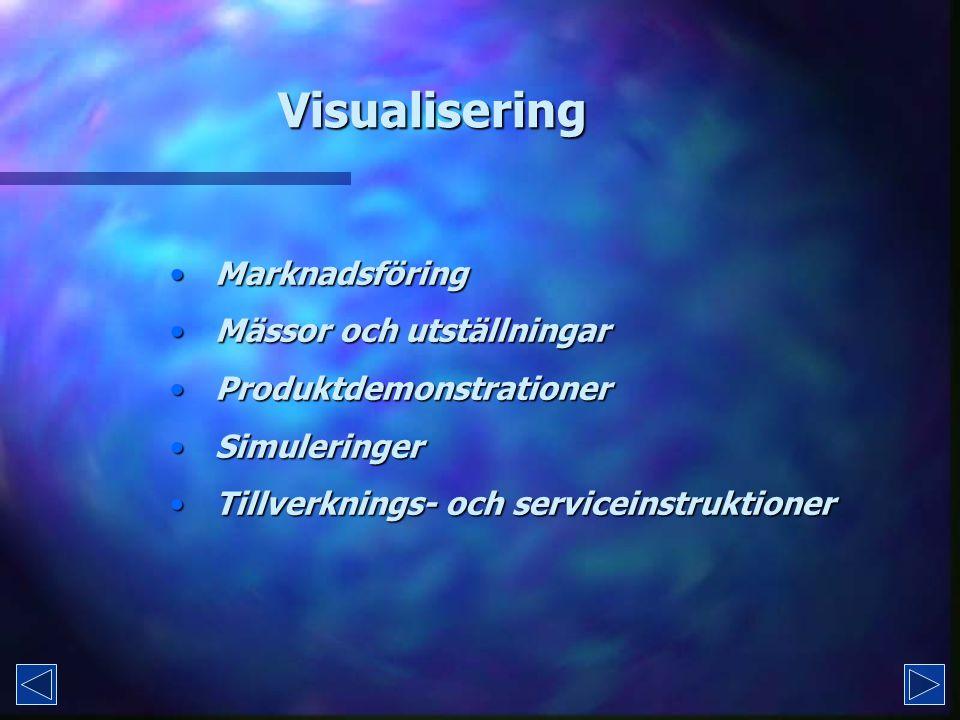 Visualisering Marknadsföring Marknadsföring Mässor och utställningar Mässor och utställningar Produktdemonstrationer Produktdemonstrationer Simuleringer Simuleringer Tillverknings- och serviceinstruktioner Tillverknings- och serviceinstruktioner