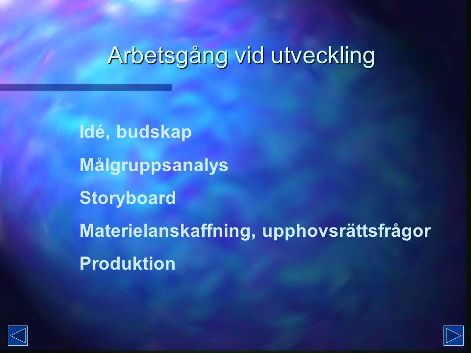 Arbetsgång vid utveckling Idé, budskap Målgruppsanalys Storyboard Materielanskaffning, upphovsrättsfrågor Produktion