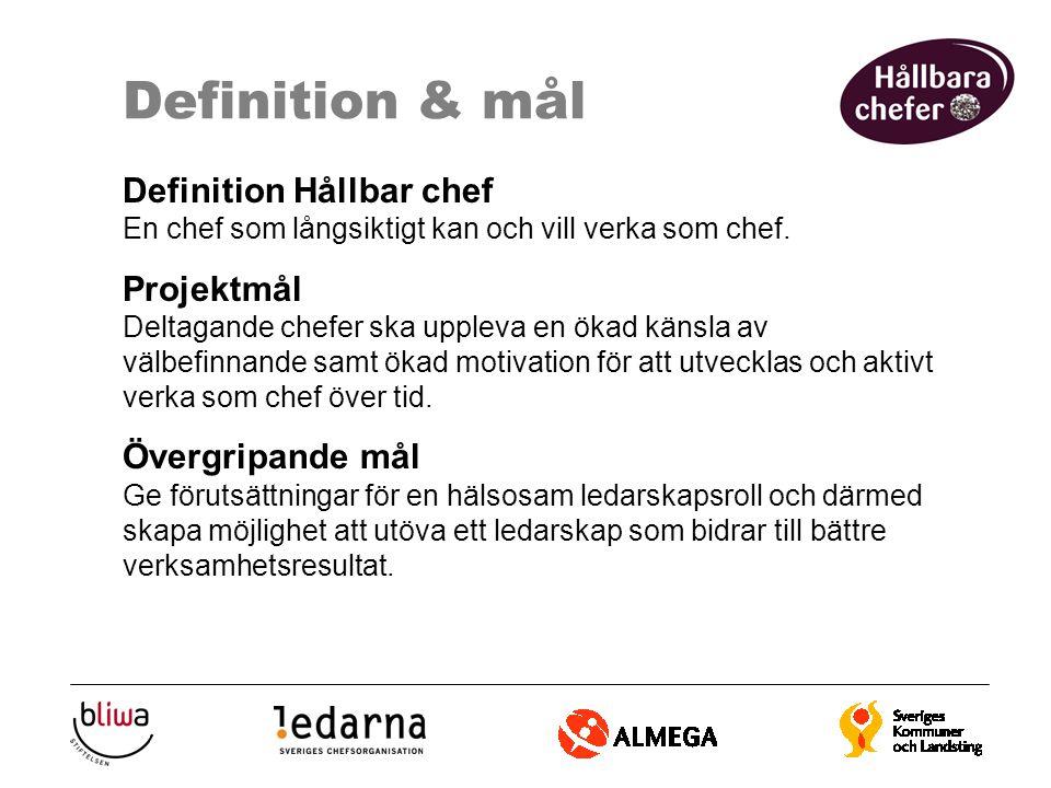 Definition & mål Definition Hållbar chef En chef som långsiktigt kan och vill verka som chef. Projektmål Deltagande chefer ska uppleva en ökad känsla