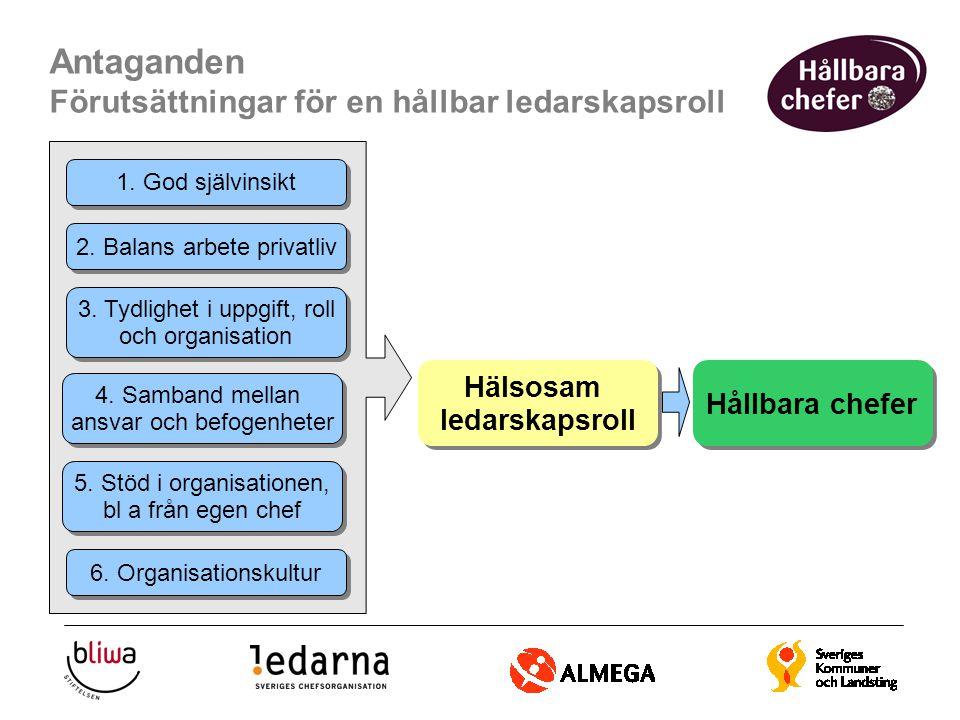 Antaganden Förutsättningar för en hållbar ledarskapsroll Hälsosam ledarskapsroll Hälsosam ledarskapsroll Hållbara chefer 1. God självinsikt 2. Balans